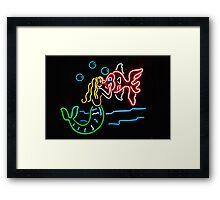 Mermaid and Fish Neon Sign Framed Print