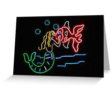 Mermaid and Fish Neon Sign Greeting Card