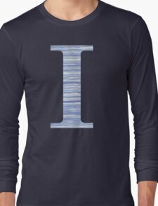 Letter I Blue Watercolor Stripes Monogram Initial Long Sleeve T-Shirt