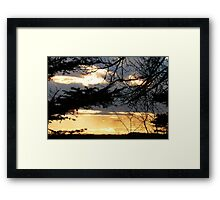 Moody Blue and Molten Gold Sunset Framed Print