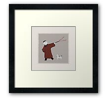 Playful Asian Boy and His Dog Framed Print