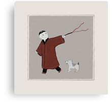 Playful Asian Boy and His Dog Canvas Print