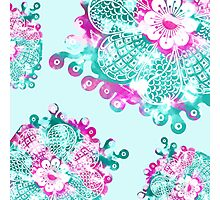 Floral Tangle Drawing on Mint and Pink Paint Photographic Print