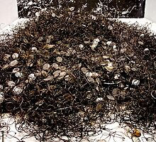 Mound of glasses at Auschwitz by Wintermute69
