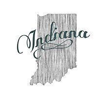Indiana State Typography Photographic Print