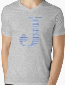 Letter J Blue Watercolor Stripes Monogram Initial Mens V-Neck T-Shirt