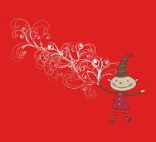 Swirly Magical Christmas Elf T-shirt (on dark) Kids Clothes