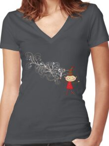 Magical Christmas Elf With White Swirls Women's Fitted V-Neck T-Shirt