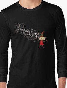 Magical Christmas Elf With White Swirls Long Sleeve T-Shirt