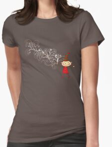 Magical Christmas Elf With White Swirls Womens Fitted T-Shirt