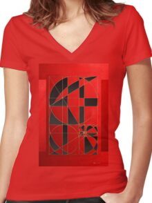 The Alchemy - Divine Proportions - Black on Red Women's Fitted V-Neck T-Shirt
