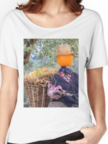 decorative pumpkins as a man on motorcycle Women's Relaxed Fit T-Shirt