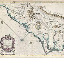 Vintage Map of The Carolinas (1676) by BravuraMedia