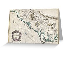 Vintage Map of The Carolinas (1676) Greeting Card