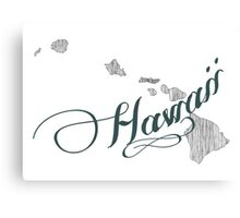 Hawaii State Typography Canvas Print