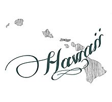 Hawaii State Typography Photographic Print