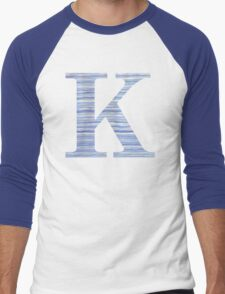 Letter K Blue Watercolor Stripes Monogram Initial Men's Baseball ¾ T-Shirt