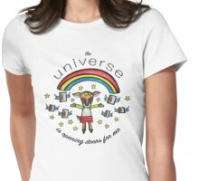 The Universe is Opening Doors for Me: Cute Deer Watercolor Illustration Womens Fitted T-Shirt