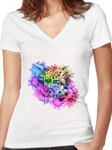 Bright Colorful Watercolor Snow Leopard Women's Fitted V-Neck T-Shirt