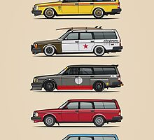 Stack of Volvo 200 Series 245 Wagons by Tom Mayer