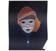 Venetian Mask with bowl and cup hat. Poster