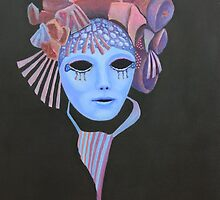 Venetian Mask with mauve headress. by Howard Sparks