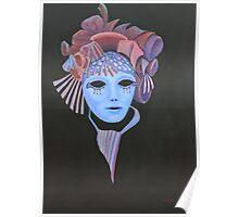 Venetian Mask with mauve headress. Poster
