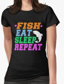 FISH EAT SLEEP REPEAT Womens Fitted T-Shirt