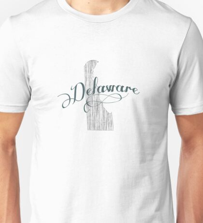 Delaware State Typography Unisex T-Shirt