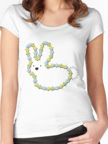 Blue Jigsaw Whimsical Baby Bunny Women's Fitted Scoop T-Shirt
