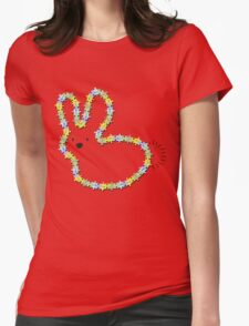 Blue Jigsaw Whimsical Baby Bunny Womens Fitted T-Shirt