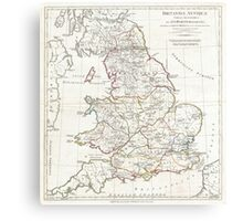 Vintage Map of England (1794) Canvas Print