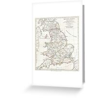 Vintage Map of England (1794) Greeting Card