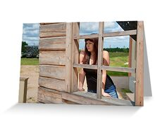 Beauty girl at the window. Greeting Card