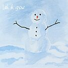 Cute Snowman Watercolour Let it Snow by Gillian Cross