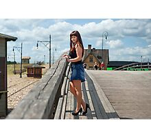 Beauty girl on the old-time bridge. Photographic Print