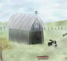 Watercolor Gray Barn and Cows by Sarah Countiss