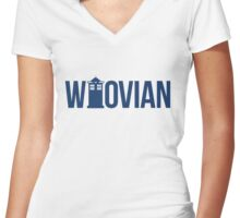 The Who in Vian - Whovian Women's Fitted V-Neck T-Shirt