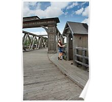 Beauty girl on old-time bridge. Poster