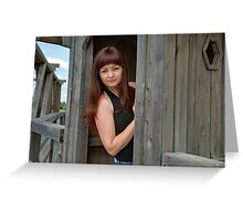 Beauty girl in watch box. Greeting Card