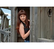 Beauty girl in watch box. Photographic Print
