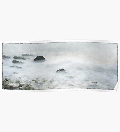 misty rocks Poster