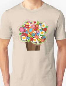 Spring Flowers Whimsical Cupcake Unisex T-Shirt