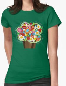 Spring Flowers Whimsical Cupcake Womens Fitted T-Shirt