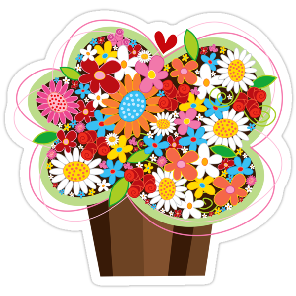 Spring Flowers Whimsical Cupcake by fatfatin