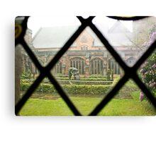 Looking Through a Cloister Window to the Centre Garden Canvas Print