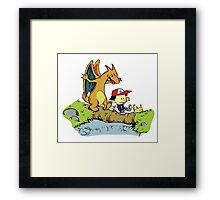 Calvin and Hobbes Pokemon Framed Print