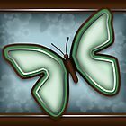 Elegant Green Butterfly with Slate Blue & Brown  by Starzraven