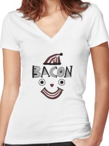 Bacon Face Women's Fitted V-Neck T-Shirt