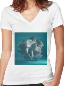 Fragmented Vision Women's Fitted V-Neck T-Shirt